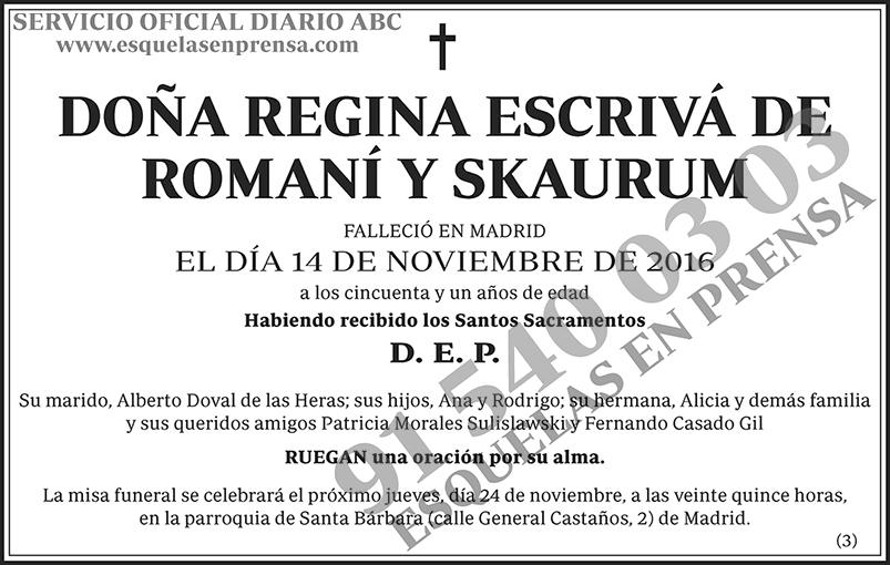 Regina Escrivá de Romaní y Skaurum